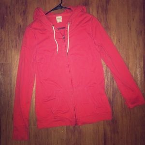 Mossimo Red Lightweight Zip- Up Jacket w/ Hood